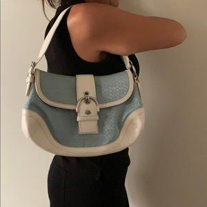 Coach Shoulder Bag With Front  Blue & White